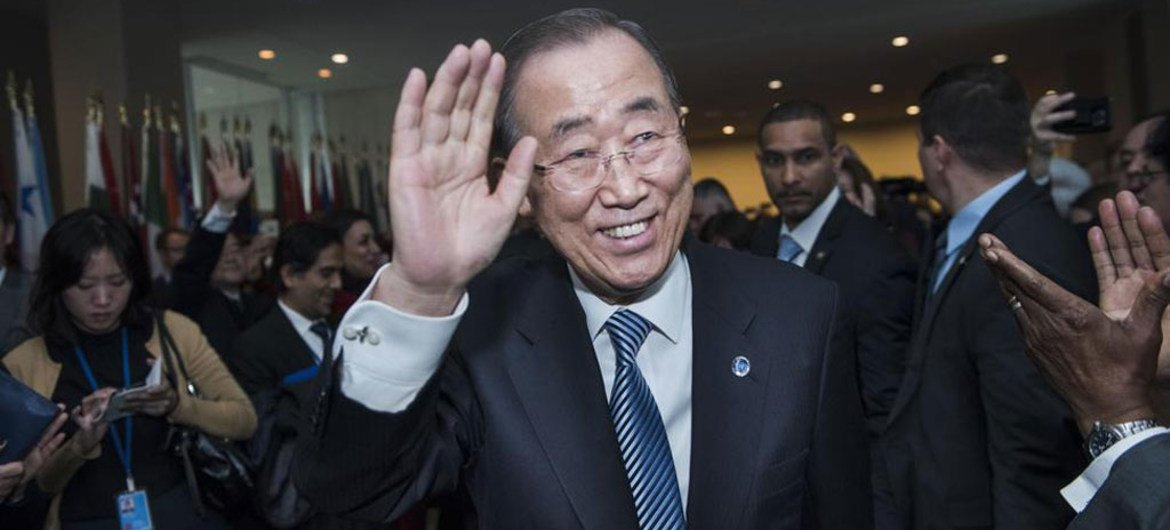 Secretary-General Ban Ki-moon bids farewell to delegates, staff, senior advisers, and other well-wishers at UN Headquarters in New York.