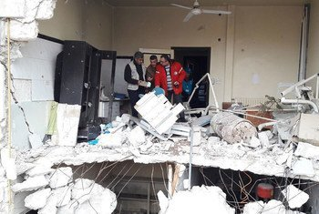 Destroyed health centre in Sakhour, east Aleppo, Syria, which, four years ago, provided 20,000 Iraqi refugees with health care. Today, the UN is looking into its rehabilitation.