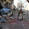 叙利亚阿勒颇东部的儿童/