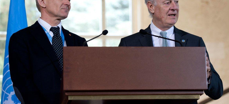 UN Special Envoy for Syria Staffan de Mistura (right) and UN Senior Advisor, Jan Egeland.
