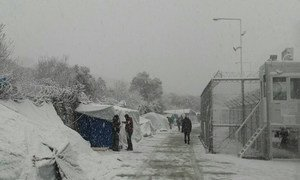 Migrant and asylum-seeker camp on the Greek island of Lesvos covered in snow as icy temperatures and heavy snowstorms affect region. January 2017.