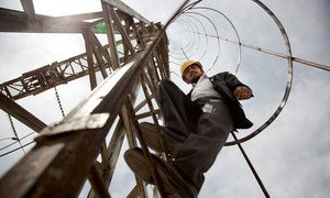 Mirwais Zamkaniwal, sub-station manager of Afghanistan's Kabul Breshna power supplier on the job.