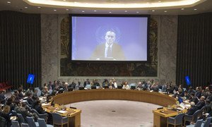 UN Special Coordinator for the Middle East Peace Process Nickolay Mladenov addresses the Security Council via videoconference.