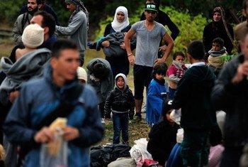 Des enfants, femmes et hommes par temps de pluie près de la ville de Gevgelija, en ARFYM, à la frontière avec la Grèce. Ils ont fui leurs foyers en pleine crise des réfugiés et des migrants. (archive)