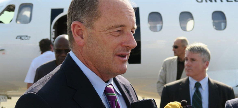 新任南苏丹特别代表谢雷尔抵达南苏丹朱巴国际机场。/Photo UN/UNMISS