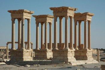 El Tetrápilo de Palmira, Siria. Foto: UNESCO/Ron Van Oers