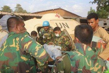 基达尔营地袭击事件受伤者被疏散。图片提供:联合国马里稳定团