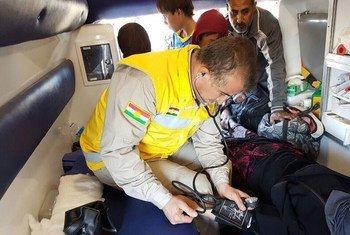 Les taux de victimes de traumatismes demeurent élevés près de la ligne de front à Mossoul, en Iraq. Photo OMS