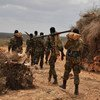 Ethiopian soldiers serving under the African Union Mission in Somalia (AMISOM) on foot patrol in Halgan village, Hiran region, on 10 June 2016, a day after a battle with Al-Shabaab militants.