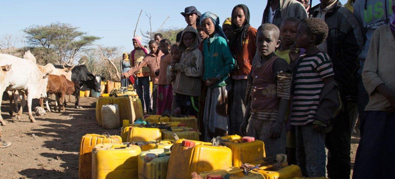 In February 2016, villagers gather at the Ula Arba water point, in Ziway Dugda Woreda, Arsi zone Oromia region, Ethiopia.