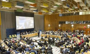 Wide view of the opening session of the 6th UN Economic and Social Council (ECOSOC) Youth Forum.