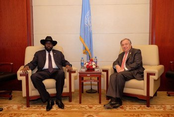 Secretary-General António Guterres (right) meets with Salva Kiir, President of South Sudan, at the 28th summit of the African Union (AU), in Addis Ababa, Ethiopia.