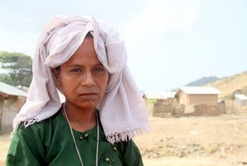 缅甸若开邦的营地中的一名流离失所者。人道事务协调厅/Htet Htet Oo