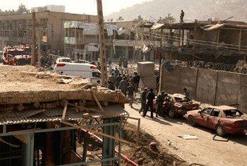 Imagen del centro de Kabul tras una explosión.