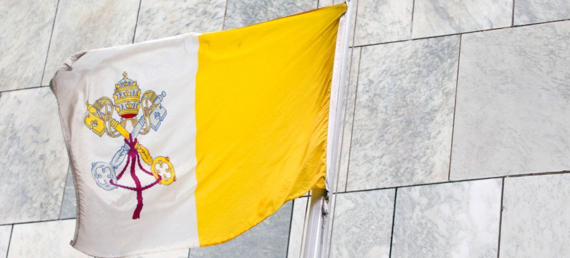 The flag of the Holy See flying at the United Nations headquarters in New York.