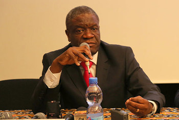 Mshindi wa tuzo ya amani ya Nobel kwa mwaka 2018 Dkt. Dennis Mukwege! ameshinda tuzo hii kwa mchango wake wa kutibu wanawake waliokumbwa na ubakaji huko DRC .