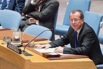 Le chef de la Mission d'assistance des Nations Unies en Libye (MANUL), Martin Kobler, devant le Conseil de sécurité. Photo ONU/Eskinder Debebe