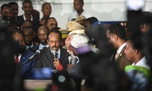The new President of Somalia, Mohamed Abdullahi Farmajo, is sworn in after he was declared the winner of the election held at the Mogadishu Airport hangar.