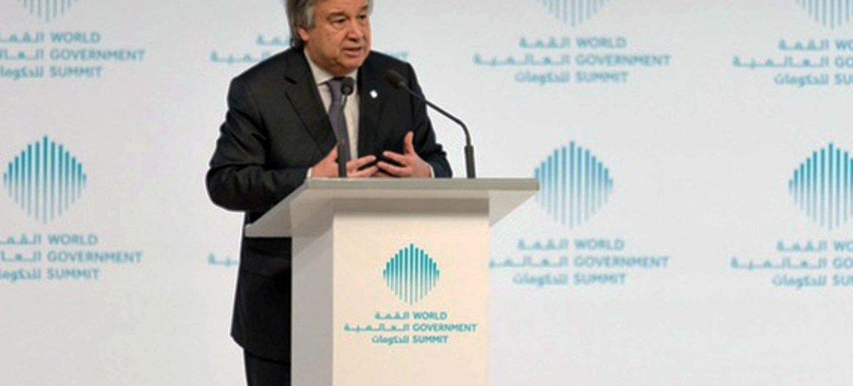 联合国秘书长古特雷斯13日在2017年世界政府首脑会议主旨演讲。/