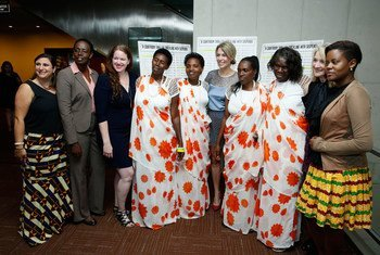 """Film Director Michele Mitchell (5th right) at the UN screening of """"The Uncondemned"""" with the four women who testified before the International Criminal Tribunal forRwanda and Godeliève Mukasarasi of the SEVOTA support group for widows and orphans."""