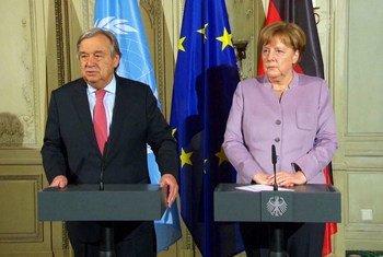 古特雷斯秘书长与德国总理默克尔在慕尼黑举行记者会。图片来源/视频截图