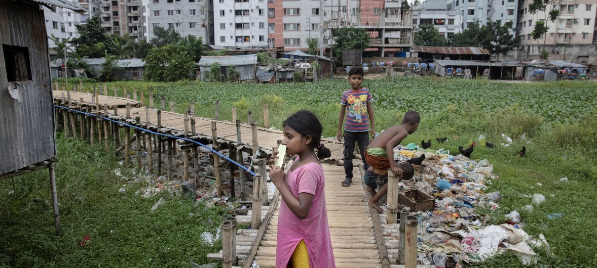 Daily life of residents living in Sujat Nagar slum in Dhaka, Bangladesh. Between 1990-94 and 2010-14, the Asia-Pacific region, on average, saw an increase in inequality by nearly 5 per cent points.