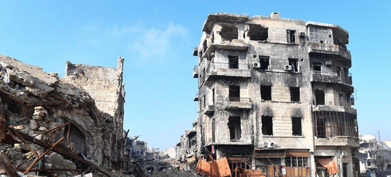 Durante quatro anos, a área urbana foi palco de confrontos entre forças do governo e rebeldes.