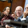 UN Special Envoy for Syria Staffan de Mistura (second right) takes questions from journalists during a press conference prior to the Intra-Syrian negotiations, Geneva. 22 February 2017.