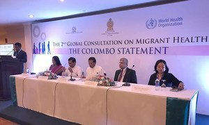 Sri Lankan government, WHO and IOM representatives at the closing ceremony of the second Global Consultation on Migrant Health.