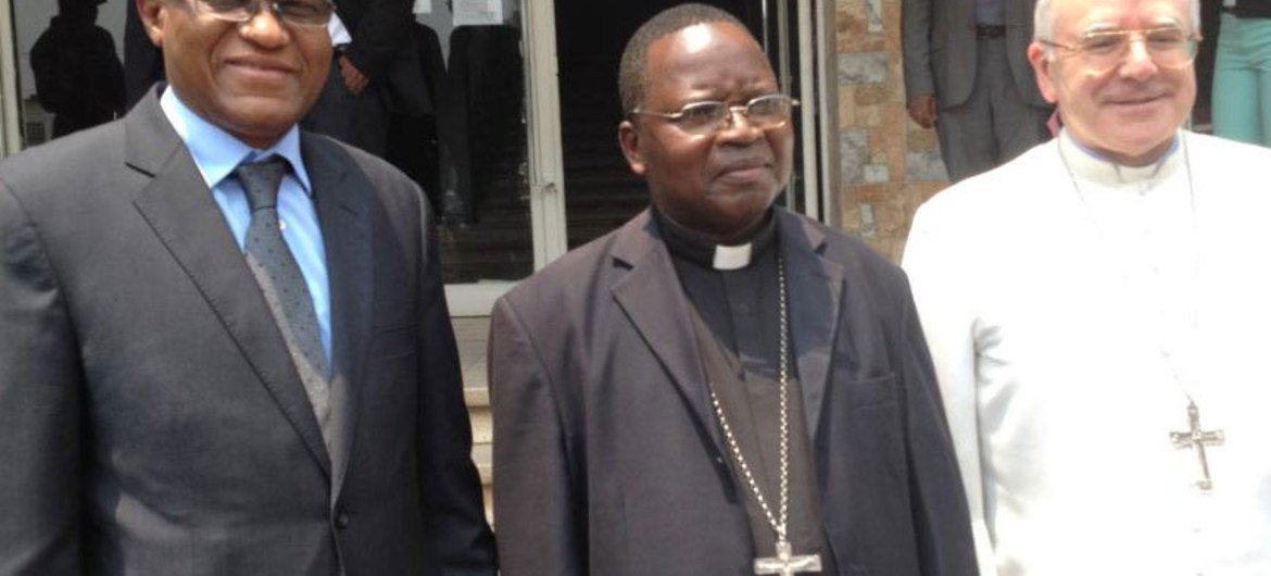 From left: head of MONUSCO Maman S. Sidikou, Monsignor Marcel Utembi, Archbishop of Kisangani and President of CENCO, and Monsignor Luis Mariano Montemayor, Apostolic Nuncio in the DRC who issued a joint statement on the attack on churches.