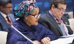 Deputy Secretary-General Amina J. Mohammed addresses the Operational Activities for Development Segment of ECOSOC. Cristián Barros, Vice-President of ECOSOC is at right.