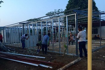 Work taking place on a camp where the UN Mission in Colombia will verify the laying down of arms by the Revolutionary Armed Forces of Colombia-People's Army (FARC-EP).