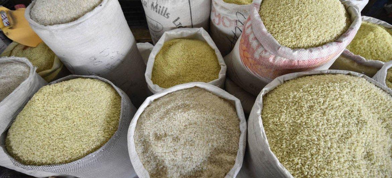 塔吉克斯坦一个市场上售卖的各种类型的米 。