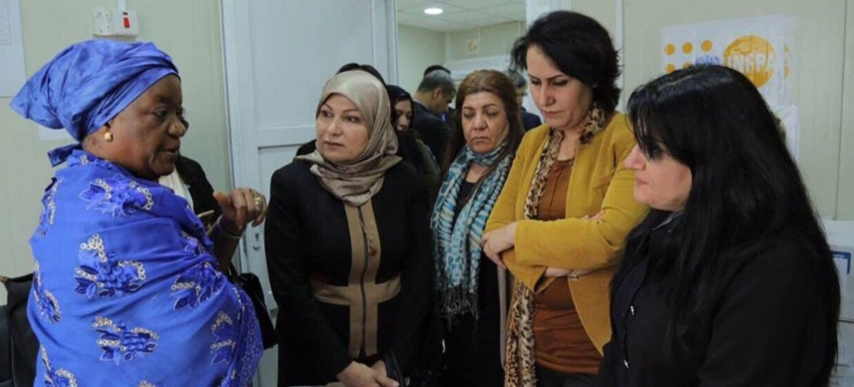 Special Representative of the Secretary-General on Sexual Violence in Conflict, Zainab Hawa Bangura, visits a UNFPA Women's Centre in Dohuk, Kurdistan, Iraq.