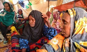 A group of women in Mogadishu, Somalia, after leaving Toro-Toro, 100 kilometres away, because of a lack of water and food.