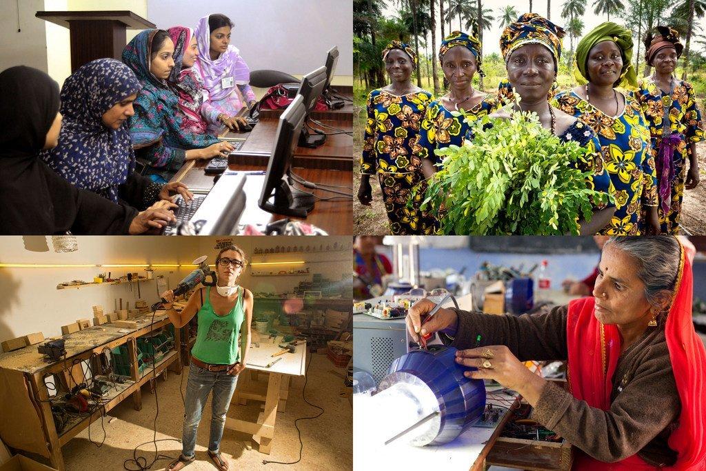 طالبات في معهد تقنية المعلومات في باكستان؛ تعاونية لمرأة الريفية في غينيا؛ سيدات الأعمال والعاملات، لبنان؛ المرأة والتكنولوجيا.