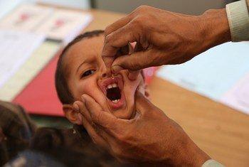 Un petit garçon est vacciné contre la polio à Sa'ada, au Yémen (archives). Photo UNICEF/UN026952/Madhok
