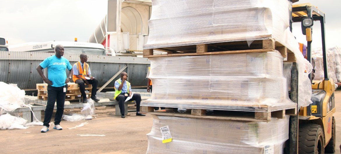 Relief supplies being transported at an airport in Sierra Leone during the response to west Africa Ebola outbreak. September 2014.