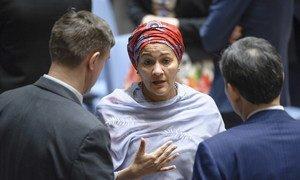 La Vice-Secrétaire générale de l'ONU, Amina J. Mohammed, parle avec des délégués avant une réunion du Conseil de sécurité. Photo ONU/Manuel Elias