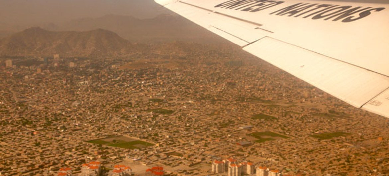 Vue aérienne de la province occidentale d'Hérat, en Afghanistan.