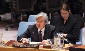 Le Représentant spécial du Secrétaire général pour l'Afghanistan, Tadamichi Yamamoto, devant le Conseil de sécurité. Photo ONU/Eskinder Debebe