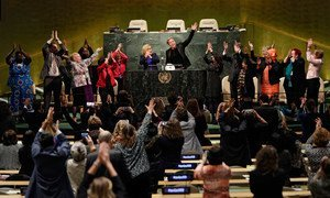 The Launch of the Equal Pay Platform of Champions at the UN General Hall on 13 March 2016. UN Women/Ryan Brown