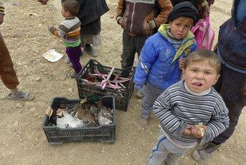 Des enfants ayant fui Mossoul, en Iraq.