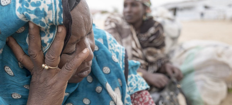 Une femme nigériane parle à des employés du HCR au camp de Minawao, au Cameroun. Photo HCR/Alexis Huguet