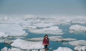 A girl from the Iñupiat community stands on a ice floe on a shore of the Arctic Ocean in Barrow, Alaska in the United States. The anomalous melting of the Arctic ice is one of the many effects of global warming that has a serious impact on the life of humans and the wildlife.