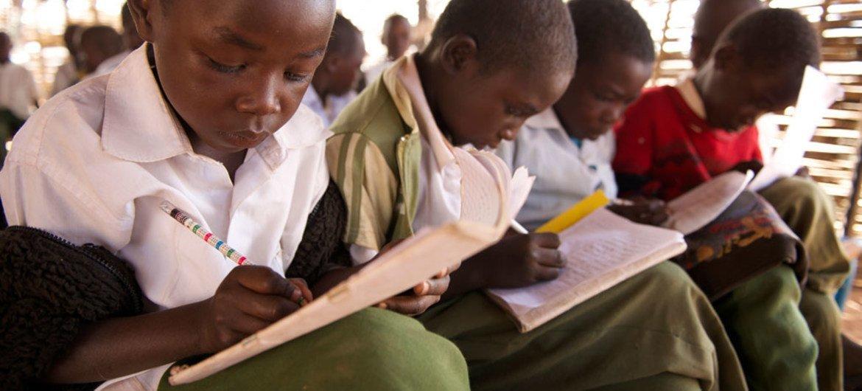 Children attend a math class in grade 3 in Yasin Bay Primary School in the city of El Fasher in North Darfur, Sudan.