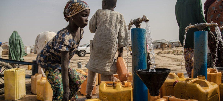 فتاة نيجيرية تجلب المياه لأسرتها في مخيم للنازحين داخليا في شمال شرق البلاد.