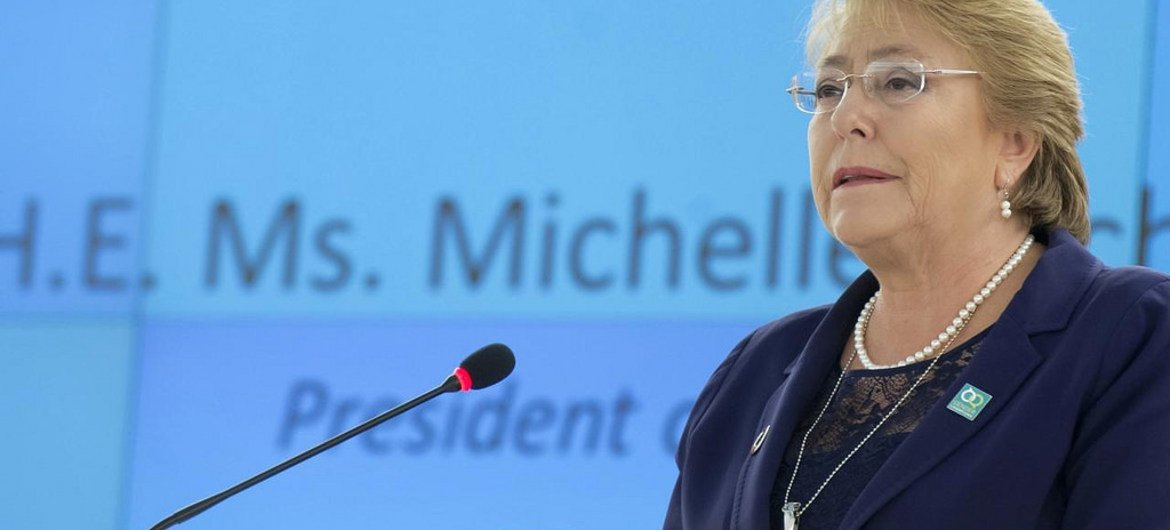 Michelle Bachelet, President of Chile speaks during Special Session of the Human Rights Council.