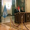 El Secretario General, António Guterres, da una rueda de prensa con el primer ministro iraquí Haider al-Abadi en Bagdad. Foto: ONU