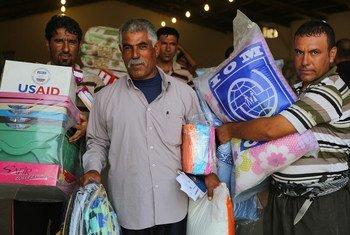 L'OIM distribue des produits non alimentaires à des Iraquiens déplacés.